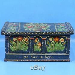 16 Antique German Black Forest Carved DOLL TRUNK BOX Blue Floral Painting c1880