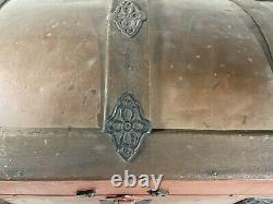 1800's Antique Vintage Steamer Dome Trunk Chest Turtle Top Wooden Chest
