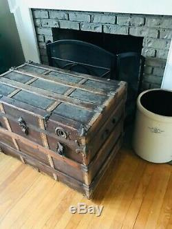 1800's Flat Top Steamer Trunk Antique Vintage Trunk Treasure Chest
