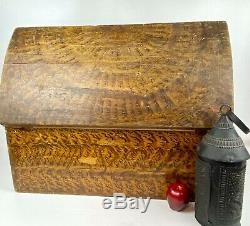 1834 New England Grain Painted Dome Box Trunk In Original Old Paint AAFA