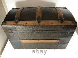 1880's Antique Steamer Trunk Dome Top Wooden Tray & 2 Handles With Wheels Pat'd
