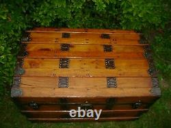 1880s Antique Steamer Trunk Flat Top Refinished Chest Trunk Lock & Key
