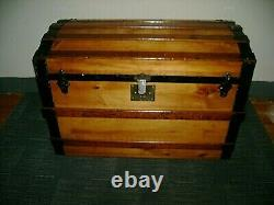 1880s Antique Steamer Trunk Flat Top Refinished Chest Trunk WithTray Lock & Key