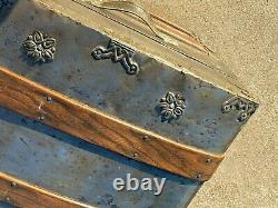 1880s Antique Steamer Trunk / Ship Stage Coach Chest / Metal & Wood