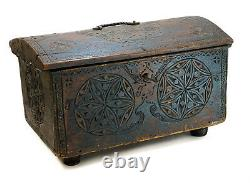 18th Century German Dutch Hand Carved Wood Chest Box or Trunk w. Iron Mounts