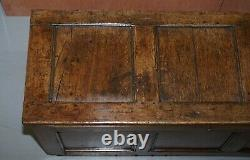 18th Century Oak Kist Chest Trunk Coffer Hand Carved Solid Panels Lovely Patina