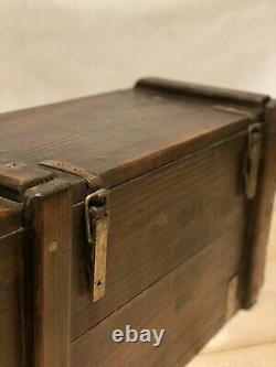 1986 Vintage Rustic Storage Chest Box Burnt Wood Trunk Farmhouse Coffee Table
