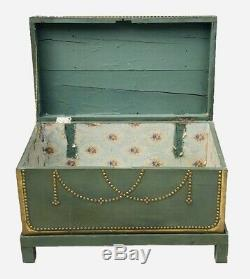 19th C Antique Brass Decorated Blanket Box / Trunk On Frame