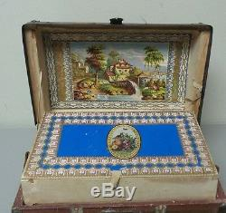 19th C. ORIGINAL HAND MADE DOLL TRUNK LITHOGRAPHED INTERIOR, LEATHER HANDLES