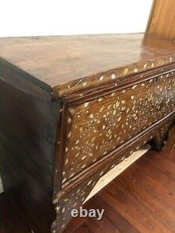 19th Century Antique Syrian chest Box Mother-of-Pearl Inlay Wedding Trunk