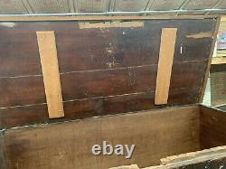 19th Century Primitive Solid Cedar Blanket Chest, Square Nails, Repair To Top