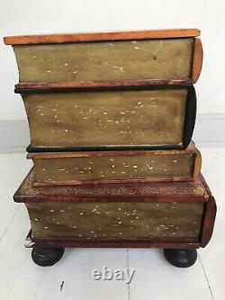 22 VTG MCM Italian Florentine Leather Wood Faux Books Side Table Chest Drawer