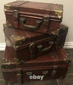 3 Lg Antique Nesting Stacking Trunk Steamer Set Retro Leather Wood Brass Buckles