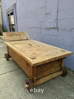 76 Bali Indonesian Primitive Jodang Chest Trunk Coffee Table Rice Day Bed Teak