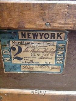 ANTIQUE Canvas Wood Metal STEAMER TRUNK with Tray Insert TRAVEL LABELS Original