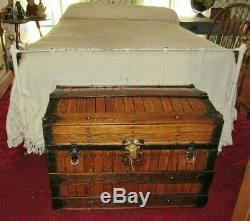 ANTIQUE EXCELSIOR STEAMER TRUNK OAK SLATTED VICTORIAN DOME TOP CHEST WithKEY C1890