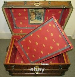 ANTIQUE EXCELSIOR STEAMER TRUNK OAK SLATTED VICTORIAN DOME TOP CHEST WithKEY C1895