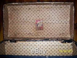 ANTIQUE Hump Camelback STEAMER TRUNK DOME WOOD CHEST