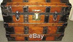 ANTIQUE STEAMER TRUNK VINTAGE VICTORIAN DOME TOP BRIDES STYLE CLASSIC WOOD CHEST