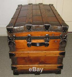 ANTIQUE STEAMER TRUNK VINTAGE VICTORIAN FLAT TOP WOOD QUALITY TRAVEL CHEST C1890