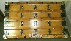 ANTIQUE STEAMER TRUNK X-LARGE HENRY LIKLY VICTORIAN FLAT TOP CHEST WithKEY C1890