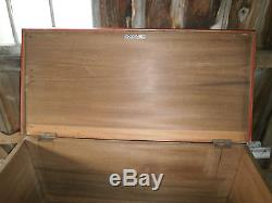 ANTIQUE WOOD CHEST TRUNK BLANKET BOX DOVETAILED RED PAINT 43 x 20.5 x 25-1/4