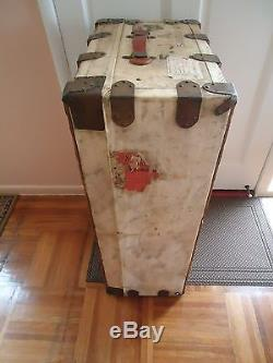 Antique W. H. Winship Leather Metal Wood Flat Top Steamer Trunk