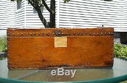 ANTIQUE Wood Stagecoach Civil War Button Nail Tack Trunk Chest Box Coffee Table