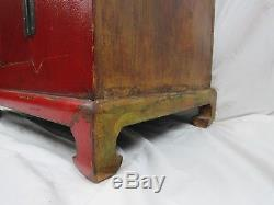 A Chinese Antique Red Color Wooden Trunk Two Door Cabinet Mongolian Style