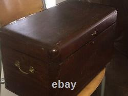 Amazing Antique Signed Dated 1911 Wooden Box/Trunk/Chest Tool Jeweler Bronze