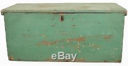 American Country Rustic Weathered Green Painted Rectangular Trunk