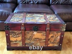 Ancient City Wood Storage Trunk Wooden Hope Chest Large Size