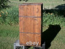 Antique 1799 WOODEN TRUNK chest rustic primitive box wrought iron hardware lock