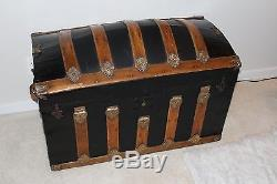 Antique 1800's Tin and Wood Humpback Steamer Trunk