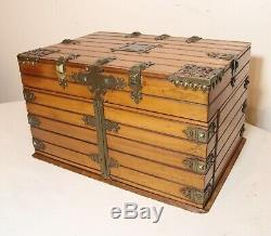 Antique 1800's Victorian hand made brass mounted ornate wooden jewelry box trunk