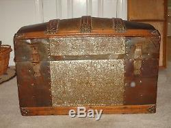 Antique 1800's Wood Barrel Dome Top Lid Camel Back Trunk withlithos and insert