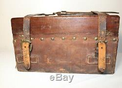 Antique 1800's handmade leather wrapped apothecary wood brass box casket trunk