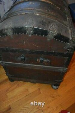Antique (1800s) Steamer Trunk dome top, compartments, wooden