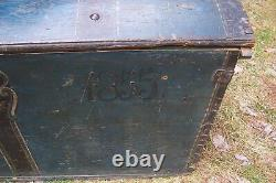 Antique 1855 Folk Art Painted Norwegian Immigrant Domed Top Trunk Travel Chest