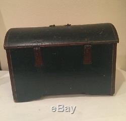 Antique 1861 PA Dutch GERMAN Painted Folkart Domed Trunk Box Small Size