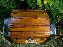 Antique 1870s Stagecoach Dome Top Steamer Trunk Bass Wood Chest
