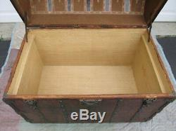 Antique 1871 Dome Top Wood Steamer Trunk Pirate Treasure Chest 36