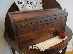 Antique 1872 American Handmade Dovetailed Pine Wooden Dome Top Chest Trunk aafa