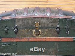 Antique 1880s Saratoga Humpback STEAMER TRUNK old green paint w wood slates NICE