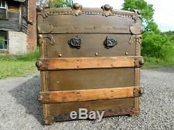 Antique 1890s Wood Slat Steamer Chest Trunk Rare Early RH Macy NY Metal Plate