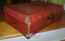 Antique 18th / 19th century Chinese Red Lacquer Gilt Leather Trunk Box Camphor