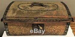 Antique 18th C Brass Studded Dome Top Hide Covered Document Box Chest Trunk Nr