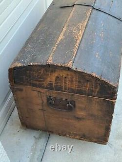 Antique 18th Cent Primitive Stagecoach Wood Trunk Rounded Top Original Hardware