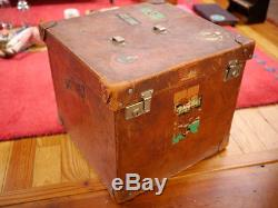 Antique 1900s Thick Tobacco Leather Faille Interior Wood Frame Steamer Trunk