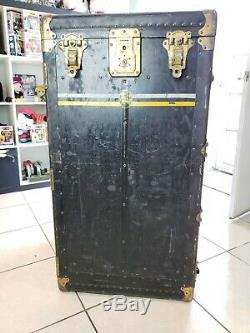 Antique 1920's Winship Wardrobe the Trunk with Door Steamer trunk U. S Army RARE